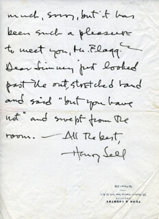 HENRY SELL - AUTOGRAPH LETTER SIGNED