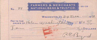 REAR ADMIRAL RICHARD E. BYRD - AUTOGRAPHED SIGNED CHECK 12/24/1931