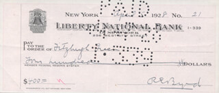 REAR ADMIRAL RICHARD E. BYRD - AUTOGRAPHED SIGNED CHECK 04/05/1928