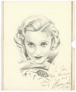 MADELEINE CARROLL - INSCRIBED ORIGINAL ART SIGNED