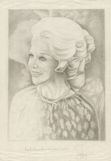GINGER ROGERS - INSCRIBED ORIGINAL ART SIGNED