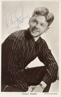 MICKEY ROONEY - PRINTED PHOTOGRAPH SIGNED IN INK