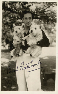 BASIL RATHBONE - PICTURE POST CARD SIGNED