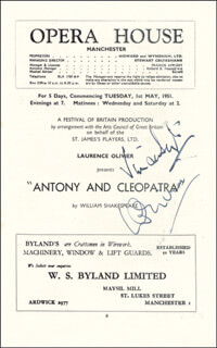Autographs: ANTONY AND CLEOPATRA PLAY CAST - PROGRAM SIGNED CIRCA 1951 CO-SIGNED BY: VIVIEN LEIGH, LAURENCE OLIVIER