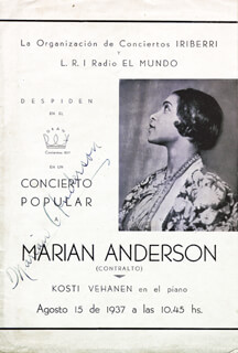 Autographs: MARIAN ANDERSON - PROGRAM SIGNED CIRCA 1937
