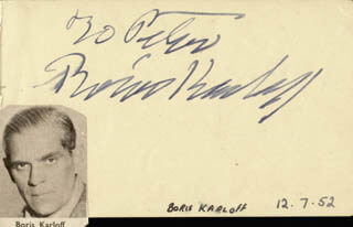 BORIS KARLOFF - INSCRIBED ALBUM LEAF SIGNED