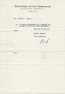 RICHARD RODGERS - TYPED LETTER SIGNED 04/25/1949