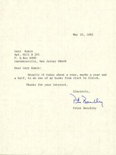 PETER BENCHLEY - TYPED LETTER SIGNED 05/10/1982