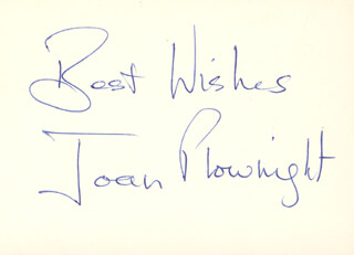 JOAN PLOWRIGHT - AUTOGRAPH SENTIMENT SIGNED