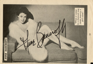 ANNE BANCROFT - MAGAZINE PHOTOGRAPH SIGNED