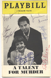 A TALENT FOR MURDER BROADWAY CAST - SHOW BILL SIGNED CO-SIGNED BY: JEAN-PIERRE AUMONT, CLAUDETTE COLBERT, NANCY ADDISON ALTMAN, SHELLY DESAI, LIANE LANGLAND, STEPHEN SCHNETZER