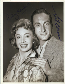 HOLIDAY ON WHEELS TV CAST - AUTOGRAPHED SIGNED PHOTOGRAPH CIRCA 1959 CO-SIGNED BY: SID CAESAR, AUDREY MEADOWS
