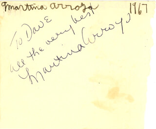 MARTINA ARROYO - AUTOGRAPH NOTE SIGNED CIRCA 1967 CO-SIGNED BY: CHARLES (CHARLES LEVISON) LANE