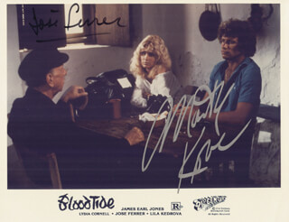 BLOODTIDE MOVIE CAST - PRINTED PHOTOGRAPH SIGNED IN INK CO-SIGNED BY: MARTIN KOVE, JOSE FERRER