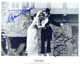 DEATH GAME MOVIE CAST - AUTOGRAPHED SIGNED PHOTOGRAPH 1987 CO-SIGNED BY: COLLEEN CAMP, SONDRA LOCKE