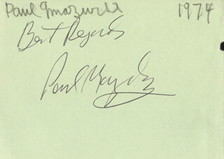 Autographs: PAUL MAZURSKY - AUTOGRAPH SENTIMENT SIGNED CIRCA 1974 CO-SIGNED BY: JOHN CATER