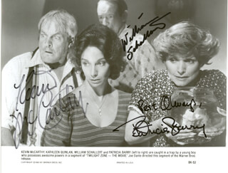 TWILIGHT ZONE MOVIE CAST - PRINTED PHOTOGRAPH SIGNED IN INK CO-SIGNED BY: KEVIN McCARTHY, WILLIAM SCHALLERT, PATRICIA BARRY