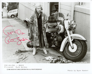 RUTH GORDON - INSCRIBED PRINTED PHOTOGRAPH SIGNED IN INK