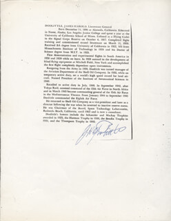 Autographs: BRIGADIER GENERAL JAMES H. JIMMY DOOLITTLE - BIOGRAPHY SIGNED