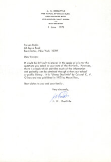 BRIGADIER GENERAL JAMES H. JIMMY DOOLITTLE - TYPED LETTER SIGNED 06/01/1978