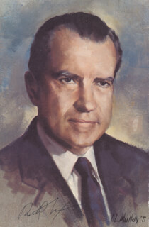 PRESIDENT RICHARD M. NIXON - ILLUSTRATION SIGNED