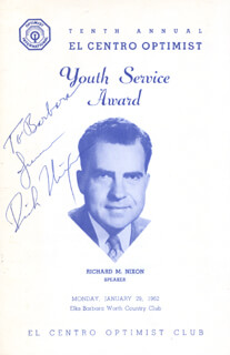 Autographs: PRESIDENT RICHARD M. NIXON - INSCRIBED PROGRAM SIGNED CIRCA 1962
