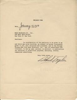Autographs: ROBERT TAYLOR - DOCUMENT SIGNED 01/19/1950
