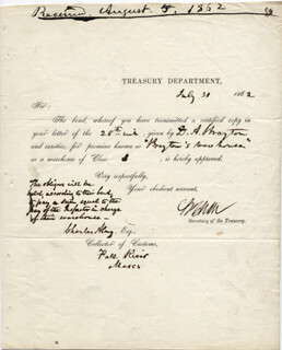 Autographs: CHIEF JUSTICE SALMON P. CHASE - DOCUMENT SIGNED 07/30/1862
