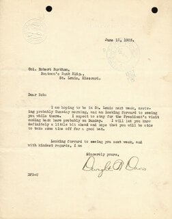 DWIGHT F. DAVIS - TYPED LETTER SIGNED 06/12/1923