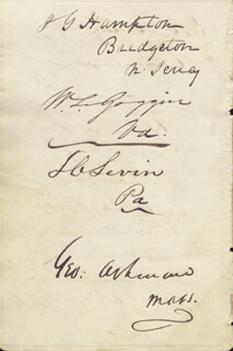 Autographs: JAMES GILES HAMPTON - SIGNATURE(S) CO-SIGNED BY: WILLIAM LEFTWICH GOGGIN, LEWIS CHARLES LEVIN, GEORGE ASHMUN, JASPER EWING BRADY, RICHARD SPAIGHT DONNELL, WILLIAM THOMAS LAWRENCE