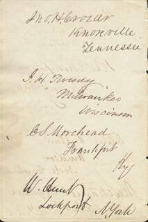 JOHN HERVEY CROZIER - AUTOGRAPH CO-SIGNED BY: RICHARD W. THOMPSON, REV. JOHN GORHAM PALFREY, JOHN HUBBARD TWEEDY, CHARLES S. MOREHEAD, WASHINGTON HUNT, DAVID OUTLAW, NATHANIEL BOYDEN