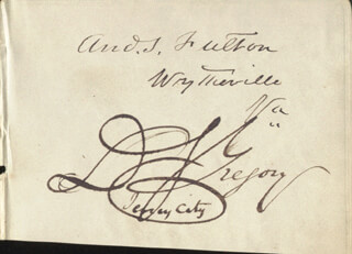 ANDREW S. FULTON - AUTOGRAPH CO-SIGNED BY: DUDLEY S. GREGORY