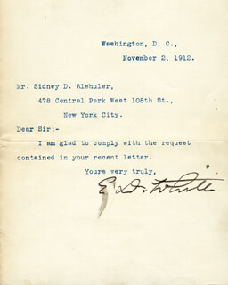 CHIEF JUSTICE EDWARD DOUGLASS WHITE - TYPED LETTER SIGNED 11/02/1912