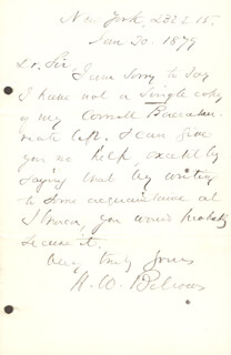 Autographs: HENRY WHITNEY BELLOWS - AUTOGRAPH LETTER SIGNED 01/30/1879
