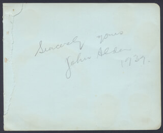 AUSTRALIAN AIR ACES - AUTOGRAPH SENTIMENT SIGNED 1939 CO-SIGNED BY: JOHN ALDEN