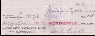 ORVILLE WRIGHT - AUTOGRAPHED SIGNED CHECK 09/22/1923 CO-SIGNED BY: LORIN WRIGHT