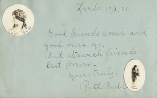 RUTH BUDD - AUTOGRAPH QUOTATION SIGNED 03/17/1921 CO-SIGNED BY: TWO RASCALS AND JACOBSON, (ALBERT JAMES STEVENS) REBLA