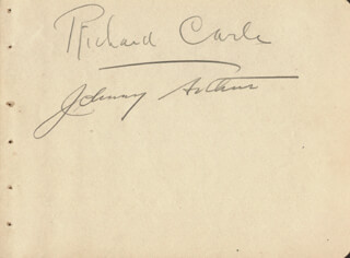 RICHARD CARLE - AUTOGRAPH CO-SIGNED BY: JOHNNY K. ARTHUR