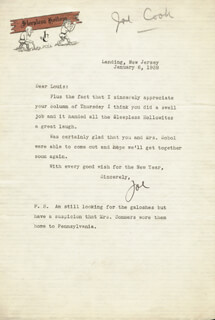 JOE COOK - TYPED LETTER SIGNED 01/06/1939