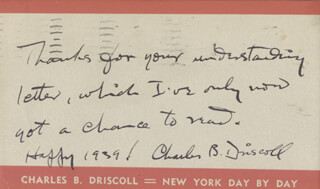 CHARLES B. DRISCOLL - AUTOGRAPH NOTE SIGNED 01/06/1939