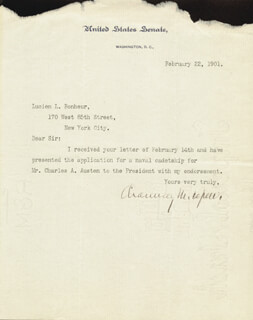Autographs: CHAUNCEY M. DEPEW - TYPED LETTER SIGNED 02/22/1901