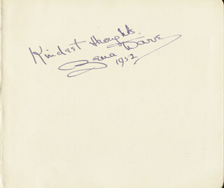 ZENA DARE - AUTOGRAPH SENTIMENT SIGNED 1952