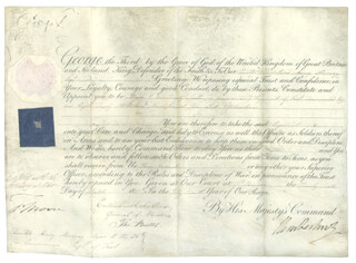 Autographs: KING GEORGE III (GREAT BRITAIN) - MILITARY APPOINTMENT SIGNED 03/26/1807 CO-SIGNED BY: PRIME MINISTER ROBERT BANKS (2ND EARL OF LIVERPOOL) JENKINSON