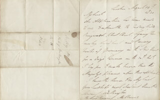 DUKE (ARTHUR WELLESLEY) OF WELLINGTON (GREAT BRITIAN) - AUTOGRAPH LETTER SIGNED 08/15/1832 CO-SIGNED BY: PRIME MINISTER WILLIAM (VISCOUNT MELBOURNE II) LAMB (GREAT BRITAIN)
