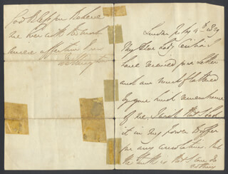 DUKE (ARTHUR WELLESLEY) OF WELLINGTON (GREAT BRITIAN) - AUTOGRAPH LETTER SIGNED 07/04/1829