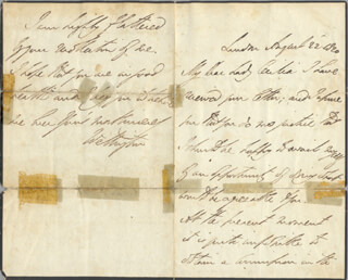 DUKE (ARTHUR WELLESLEY) OF WELLINGTON (GREAT BRITIAN) - AUTOGRAPH LETTER SIGNED 08/22/1820
