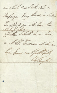 DUKE (ARTHUR WELLESLEY) OF WELLINGTON (GREAT BRITIAN) - AUTOGRAPH LETTER SIGNED 10/29/1822