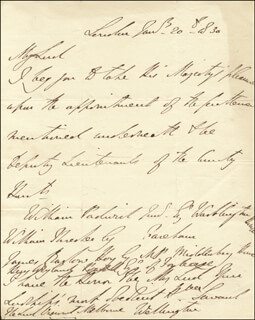 DUKE (ARTHUR WELLESLEY) OF WELLINGTON (GREAT BRITIAN) - AUTOGRAPH LETTER SIGNED 01/20/1830