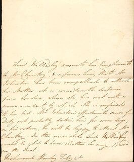 RICHARD 1ST MARQUIS WELLESLEY WELLESLEY - THIRD PERSON AUTOGRAPH LETTER 2/2