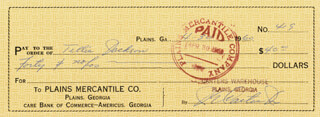 PRESIDENT JAMES E. JIMMY CARTER - AUTOGRAPHED SIGNED CHECK 04/30/1960